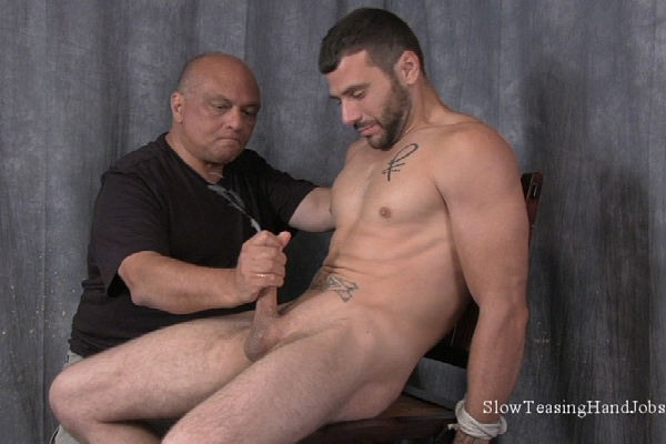 Rugged straight guy Nick gets nipples sucked and jerked off at Slowteasinghandjobs