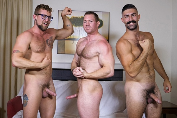 Beau, Brandon Ashton and Jay Austin jerk off in Three Men One Pornstash at Theguysite