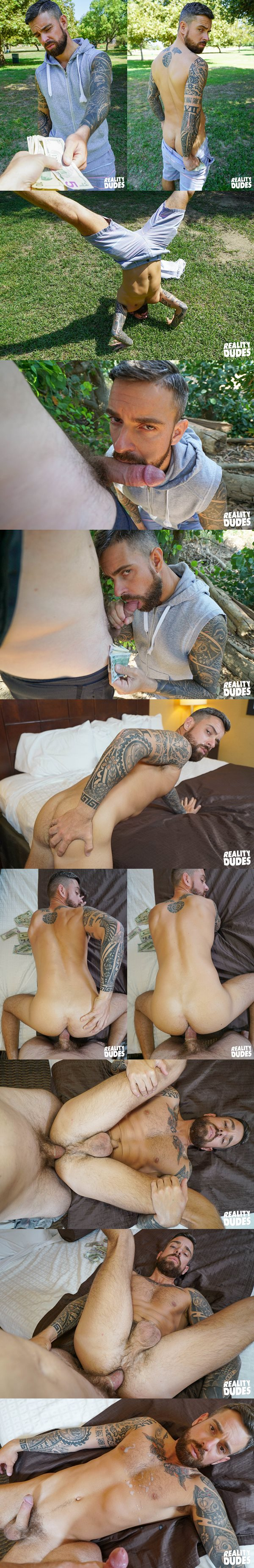 Tattooed bearded newcomer Teo Carter gets fucked at at Realitydudes