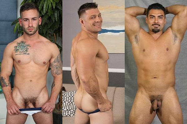 Hot straight guys Bronson, Dougie and Jessie James jerk off
