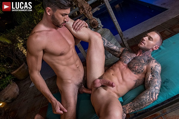 Scott DeMarco flip-Fucks inked muscle jock Dylan James bareback at Lucasentertainment