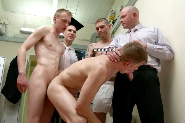Hot straight jock Derek gets gangbanged by Simon, Adrian and Dave in the Locker Room at Cmnm