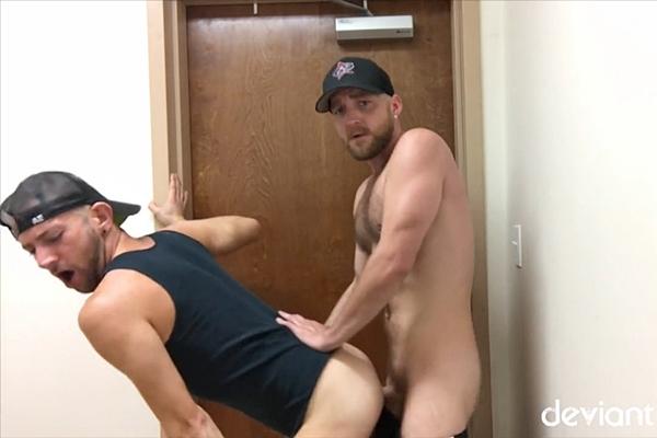 Deviant Otter barebacks a stall mate in Bathroom Sluts at Deviantotter