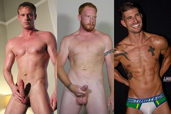 Hot guys Dirk Berger, John and Sean Maygers jerk off