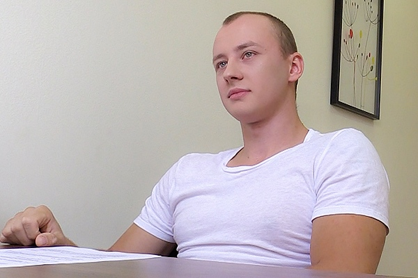 The casting director barebacks a hot straight jock's tight virgin ass in Dirty Scout 105 at Dirtyscout