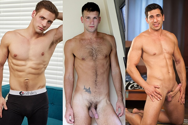 Hot straight guys Max, Mathieu Sire and Adam Cerny jerk off