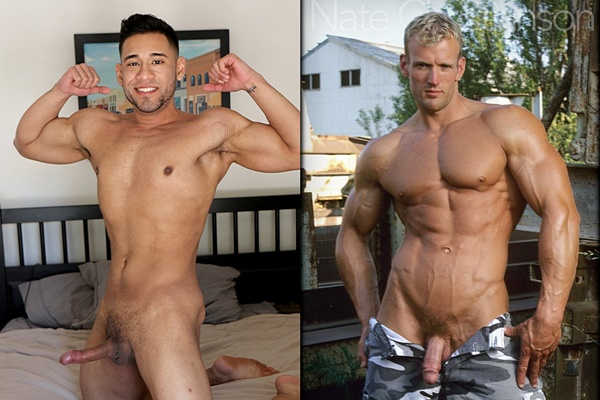 Hot straight muscle jock Michael Santos and Nate Christianson jerk off