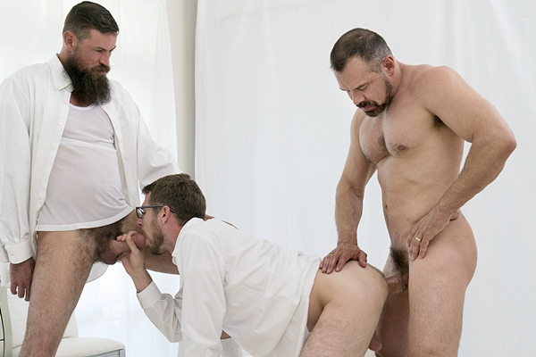 President Ballard and Brother Strang double penetrate Brother Eyring in Bonds Of Brotherhood at Mormonboyz