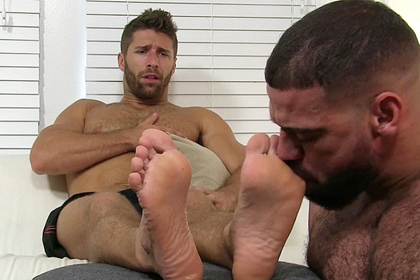 Masculine foot master Ricky Larkin worships sexy hairy straight hunk Blayne at Myfriendsfeet