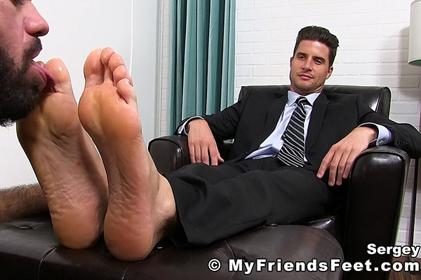 Handsome suited businessman Sergey sheer socks and bare feet worshiped by Ricky Larkin at Myfriendsfeet