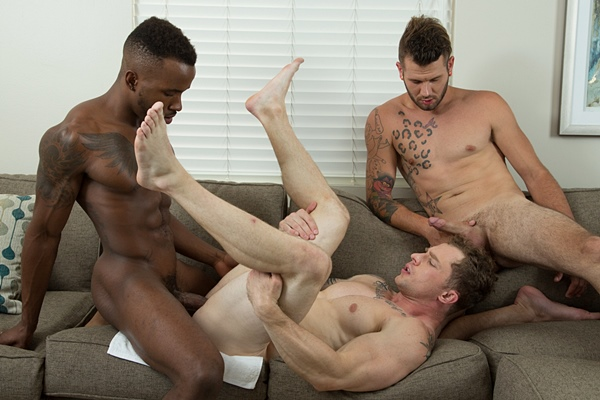 Johnny Hill and Pheonix Fellington bareback Markie More at Nextdoorstudios