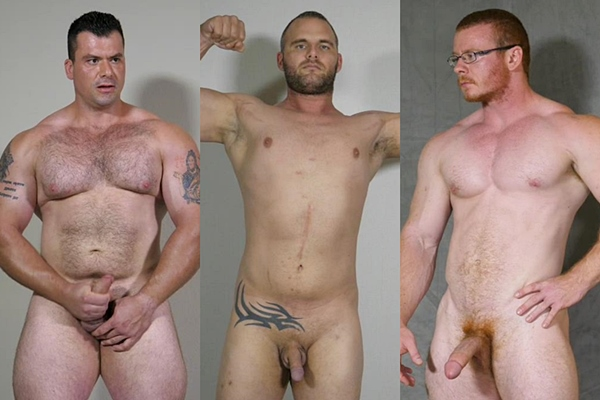 Hot straight muscle hunks Conan, Jon Martin and Rob jerk off at Theguysite