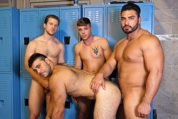 Sam and Zeus watch macho hunk Jessie James bareback hairy bear Marcelo at Theguysite