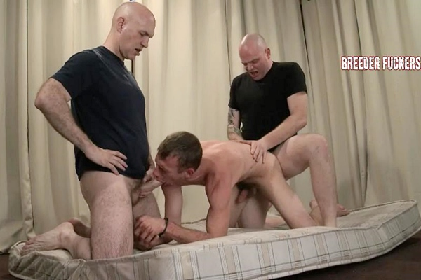 Tough straight guy Lee gagged, gut punched, nipples pegged, CBT, flogged and spitroasted at Breederfuckers