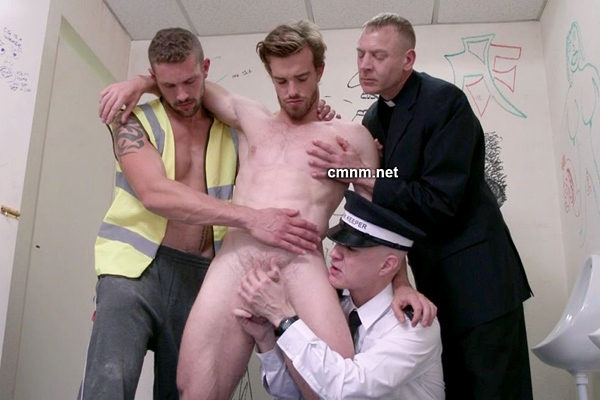 Hot straight office worker Nick finger fucked and jerked off by three pervs in The Park Toilets at Cmnm