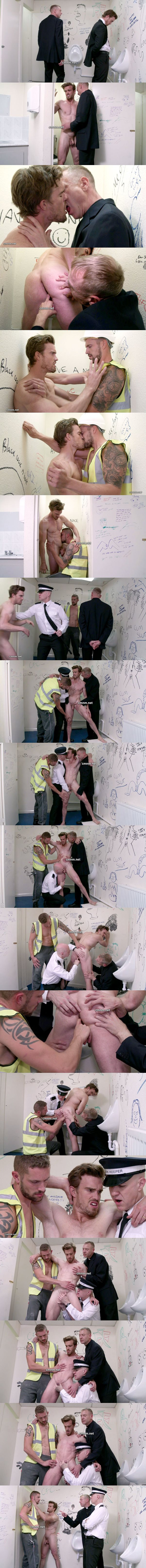 Hot straight office worker Nick finger fucked and jerked off by three pervs in The Park Toilets at Cmnm 02