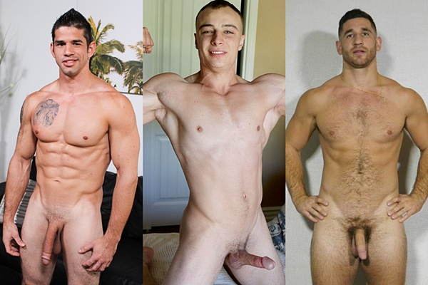 Hot straight guys Jason Richards, Trevor Brown and Anthony jerk off