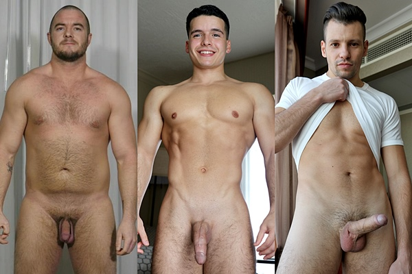 Hot straight guys Johnny, Damian Romano and James Jones jerk off