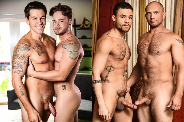 Brodie Sinclair and John Magnum fuck Max Wilde and Beaux Banks at Men
