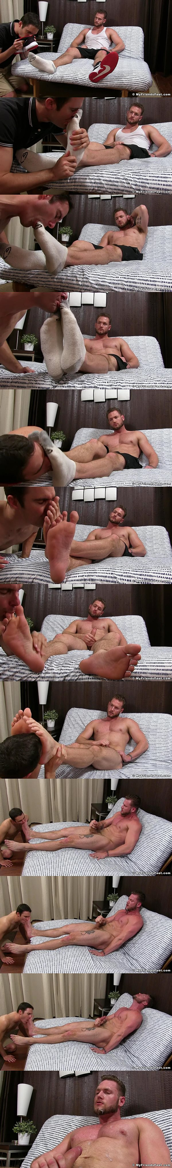 Porn star Ace Era foot and sock worshiped by Cameron Kincade at Myfriendsfeet 02