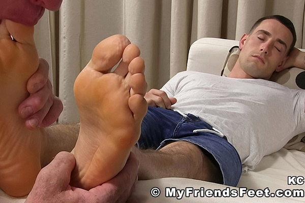 Handsome sleepy straight guy KC worshiped in Napping KC Feet Worshiped at Myfriendsfeet