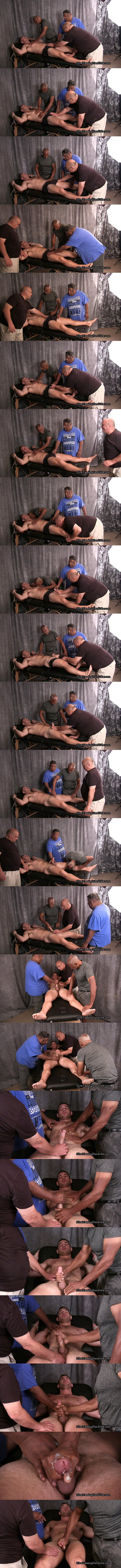 Straight muscle hunk Anthony slowly edged and wanked in Anthony and Three Old Pervs at Slowteasinghandjobs 01