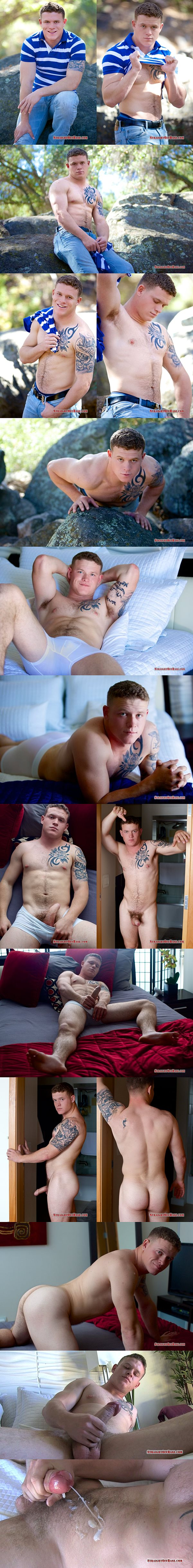 Inked straight hunk Corporal Aamon blows a thick load at Straightoffbase