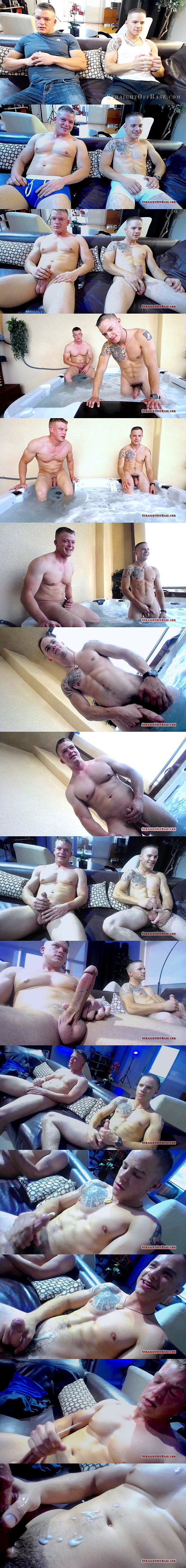 Hot straight military jock Corporal Jax and Sergeant Ryker in Webcam Jacuzzi Jerkoff at Straightoffbase 02