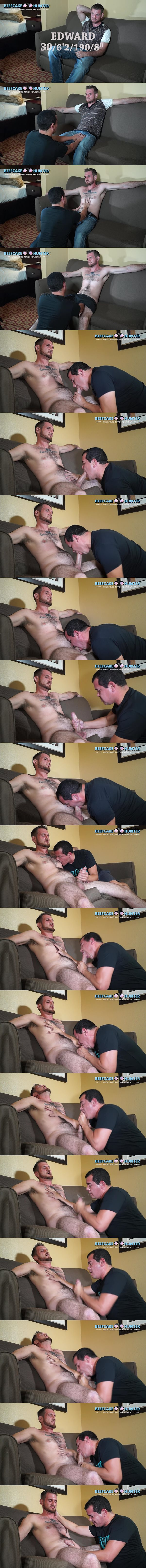 Hairy masculine straight hunk Edward sucked and jerked off at Beefcakehunter 02