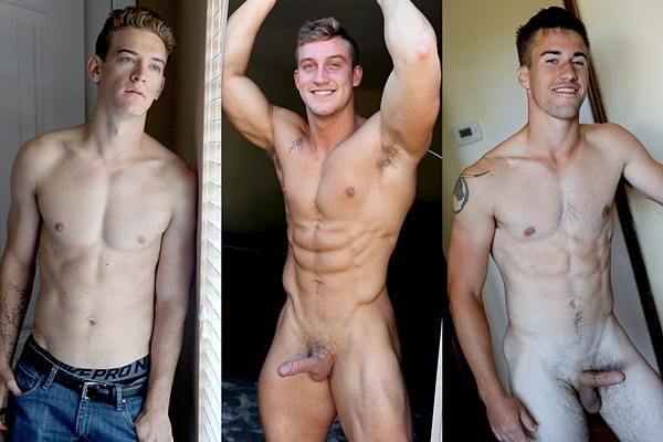 Hot muscle jocks Alan Cooper, Max Warner and Myles Brownlee jerk off at Gayhoopla