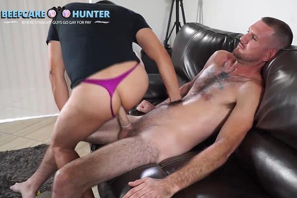 Masculine straight blue-collar worker Edward fucks Victor in Riding Edward Mismeasured Cock at Beefcakehunter