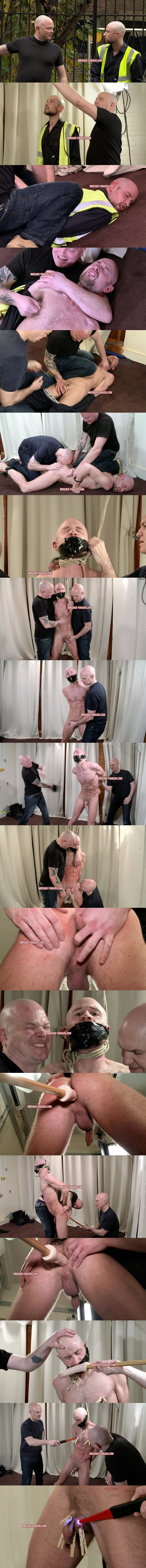 Straight gruff workman Drew gets tied up, flogged, thrashed, punched, finger and dildo fucked and electro shocked at Breederfuckers 02
