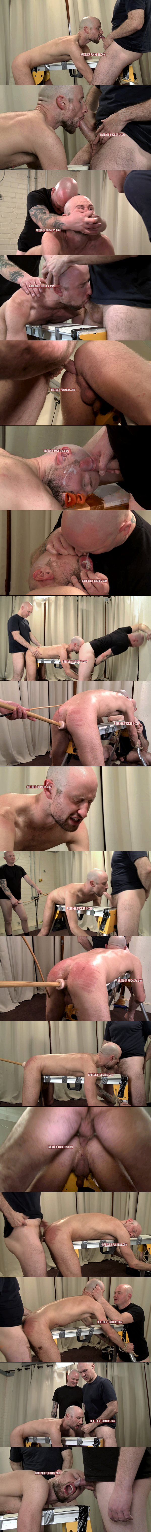 Hetero electrian Drew spitroasted, dildo fucked and face covered in spit and cum at Breederfuckers 02