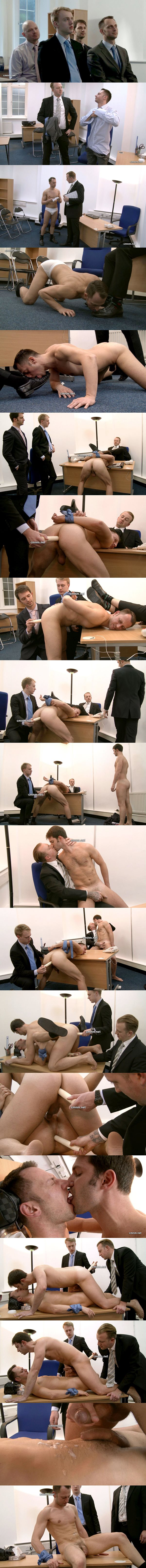 Straight businessmen Joe and Kieran humiliated and vibrator fucked in Office Discipline at Cmnm 02