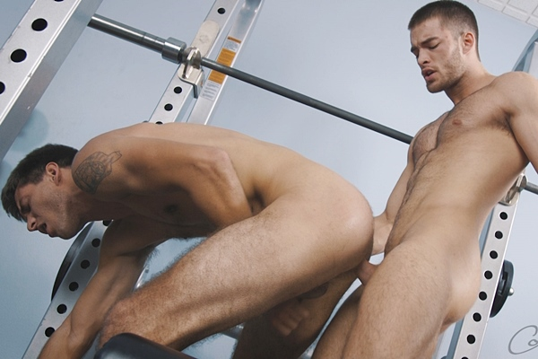 Fit college jock Beau barebacks Wesley in Wesley's bottoming debut at Corbinfisher