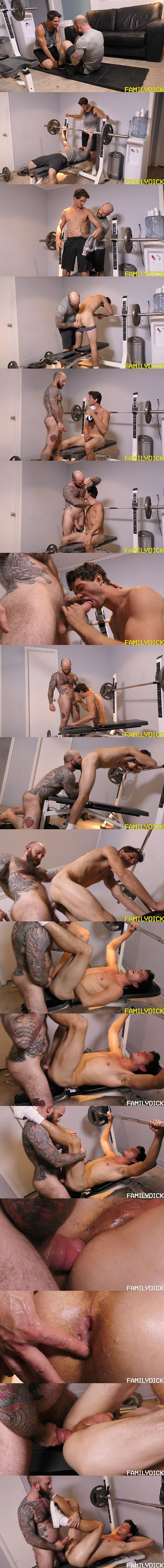 Big dicked inked daddy David creampies his son John (aka Carter Michaels) in Father Son Workout at Familydick 02