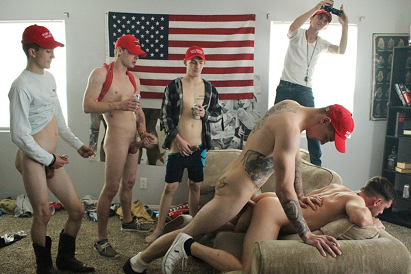Charlie, Cowboy, Kris and Ethan Cock gangbang creampie Micky in Make America Gay at Fraternityx