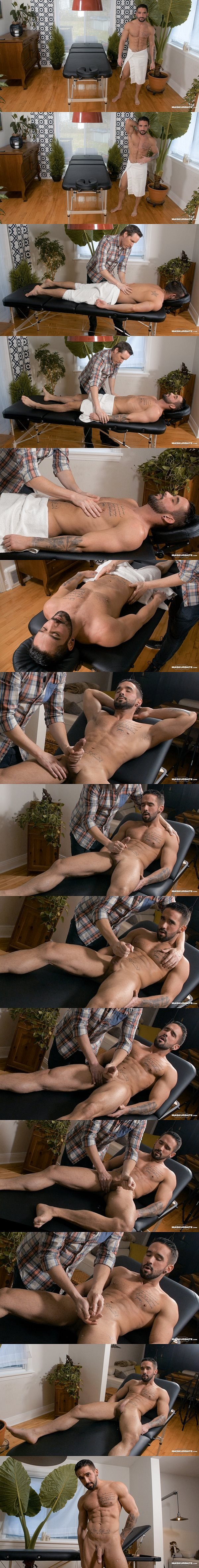 Hot straight muscle jock Zack Lemec massaged and jerked off by Pascal at Maskurbate 02