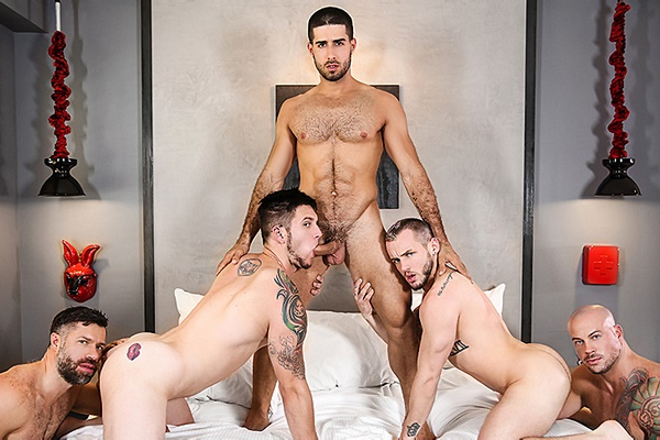 A Sneak Peek of Diego Sans, Sean Duran and Tristan Jaxx Fucking Allen Lucas and Colton Grey at Jizzorgy