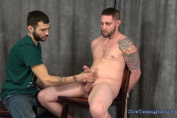 Big dicked straight guy Jay Rising slowly jerked off by Nick at Slowteasinghandjobs