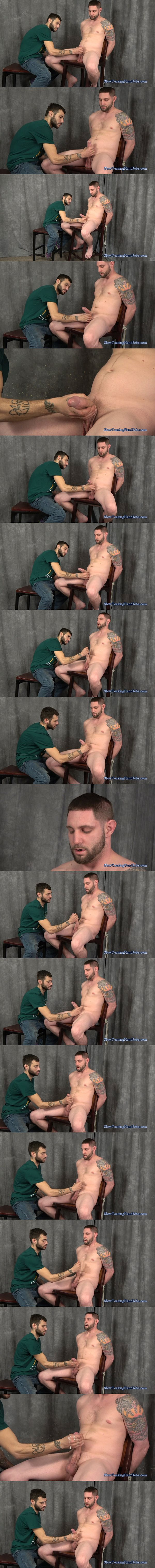 Big dicked straight guy Jay Rising slowly jerked off by Nick at Slowteasinghandjobs 02