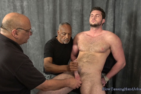 Tall muscular straight guy Taylor slowly edged by master Rich and Chic in Taylor and Four Teasing Hands at Slowteasinghandjobs