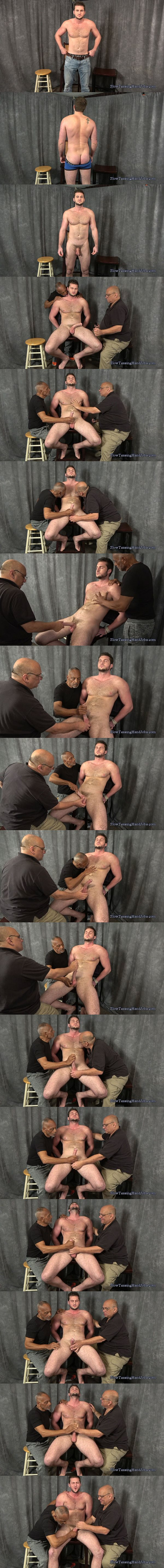 Tall muscular straight guy Taylor slowly edged by master Rich and Chic in Taylor and Four Teasing Hands at Slowteasinghandjobs 02