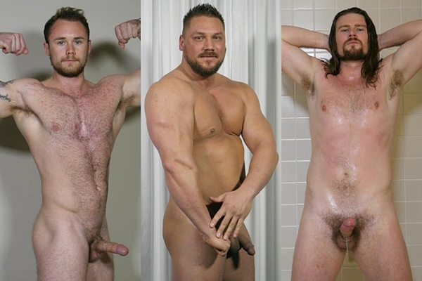 Hot straight guys John Cole, Randy Stone and Stephen Ericksen jerk off at Theguysite