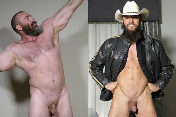 Masculine bearded studs Slick Rick and Wesley Holt jerk off at Theguysite