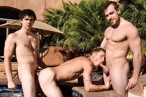 Blake Hunter, Justin Matthews and Will Braun fuck each other in Poolside Cruising at Drillmyhole