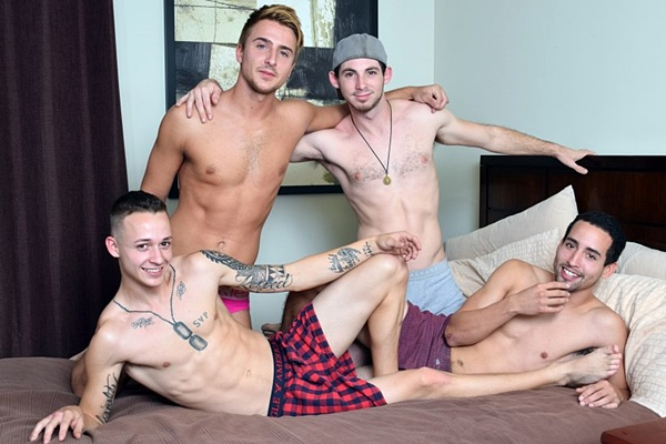 Mike Moretti and Toby Springs bareback Jared Marzdon and Tristan Sweet in Straight Boys Bareback Foursome at Raunchybastards