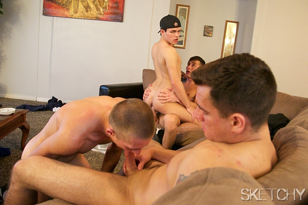 Cameron Boyd, Jordan Boss, Gaberial Issacs and Aaron gangbang creampie Aston Springs, Abe Andrews in Addicted 2 Cum at Sketchysex