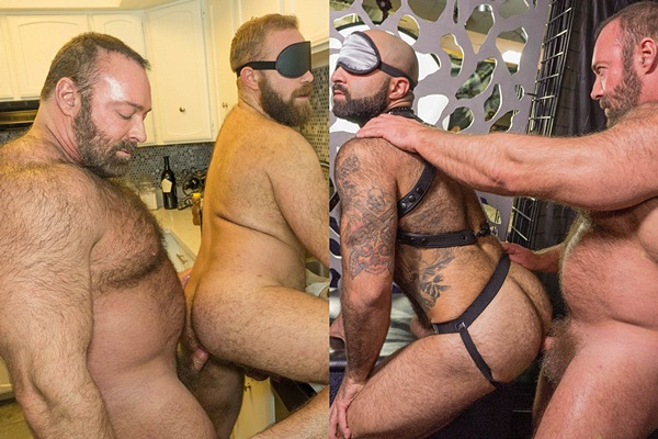 Sexy hairy muscle daddy Brad Kalvo barebacks Kosher Pig and Atlas Grant
