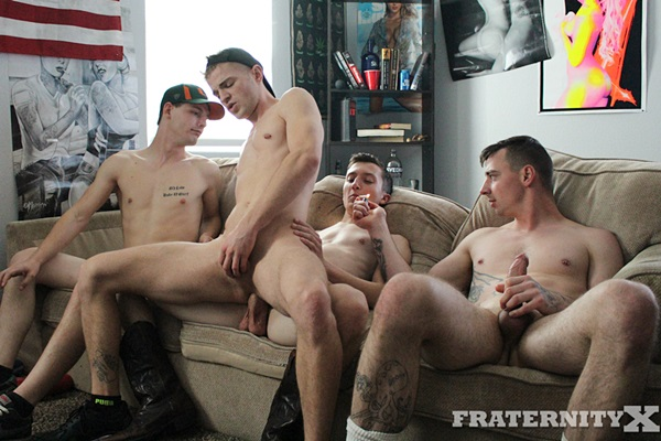 Ethan Cock, Charlie, Kris and Cowboy gangbang bareback Tom in Hit It at Fraternityx